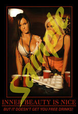 Beer #26 Sticker of Hot Bikini Babes at Pool Table for Toolbox Coozie Cooler New