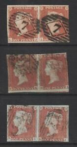QV 1d Red Imperforate x 3 Pairs. 1844 type cancellations.