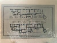 Genuine antique plan of Warwickshire Castle late 18 C Alex Hogg
