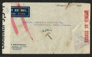 BURMA TO USA AIR MAIL MULTIFRANKING DUE CENSOR COVER 1943