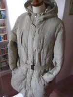 LADIES stone M&S PARKA quilted padded COAT JACKET ANORAK size Large UK 14 16