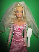 B-807) barbie viejas-novia mattel vestido de bodas + velo + aretes zapatos + + cepillo