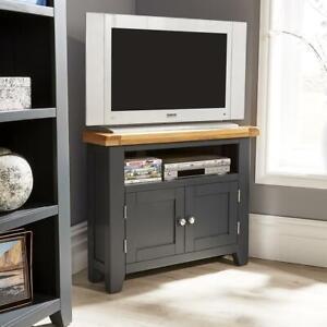Modern Blue Solid Wood 2 Door Corner TV Plasma Stand Unit Cable Management