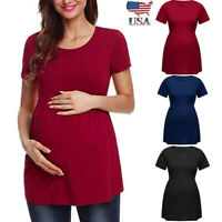 US Women Pregnancy Solid Short Sleeve Tops Nusring Maternity Clothes Tunic Shirt