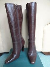 Vintage  Brown FAITH  Real Leather Croc Print Knee High Boots Heels - Size 5/38