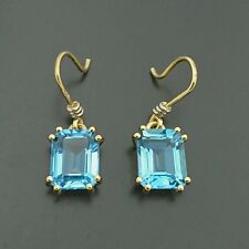 Brand New 18ct yellow white gold drop hook earrings set with natural blue topaz