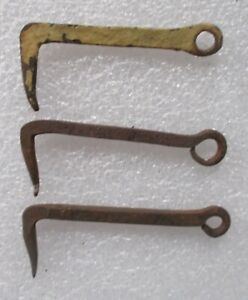 Primitive lot 3  1800's Antique Hand Forged Wrought Iron Barn Gate Farm Hooks
