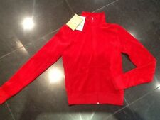 "NWT Juicy Couture New & Genuine Ladies Small Red Velour Jacket & ""J"" Zip Pull"