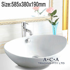 ACA 585x380x190mm Oval Above Counter Top Basin Vanity Gloss White w/ Overflow
