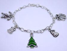 Árbol de Navidad pulsera con dijes Esmalte Candy Canes Bell Sombrero presente Plateado Plata