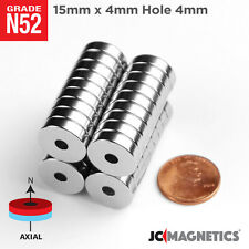 15mm X 4mm Hole 4mm N52 Strong Ring Disc Rare Earth Neodymium Craft Magnet N52