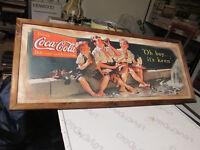 Cadre Impression en Bois Vintage Années '80 Coca Cola