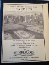 K2-8 Ephemera 1962 Advert Munro Cobb Limited Carpets Cliftonville Store
