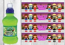 6 Personalised Girl Superhero Fruit Shoot Bottle Wrappers Party Favour