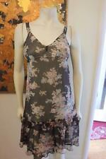 Megan Park 100% Silk Sheer Brown Floral Sleeveless Empire Waist Ruffled Dress 1