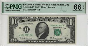1969 $10 FEDERAL RESERVE NOTE KANSAS CITY FR.2018-J JA BLOCK PMG GEM UNC 66 EPQ
