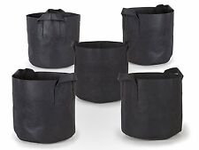 HQ 5-Pack Planting Tool Grow Bags Fabric Cover Plant Pots w Handles 10 Gal BLACK