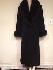 Marvin Richards Women's winter black fox fur lambswool long coat size 6 fit M