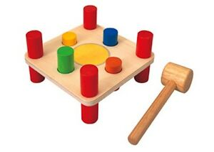 Plan Toys - Hammer Pegs NEW four-hole wooden board & mallet for hammering toy