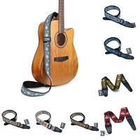 Guitar Strap Embroidered Belt Soft For Acoustic Electric Guitars Bass Adjustable
