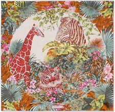 SALVATORE FERRAGAMO white Floral pink TIGER, ZEBRA & GIRAFFE silk scarf NIB Auth