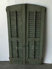 Pair Vtg Arch Top House Window Wood Louvered Shutters Shabby 14x49 Old 1034-16