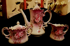 "LEFTON China ""Heavenly Rose"" Coffee Pot plus Cream and Sugar"