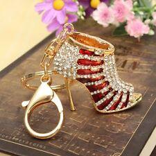 New Red High-heel Shoe Keychain Bag Rhinestone Charm Women Lady Cute Gift