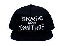 Thrasher Skate and Destroy Hat Flat Bill Embroidered Cap Black