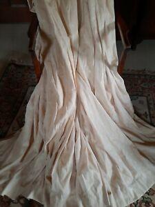 "Pair Vintage Deep Cream Lined Curtains 106""w x 71""d"