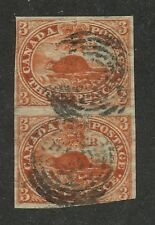 Canada 1852 Beaver 3d red Pair with PrePrinting fold in top stamp #4 used