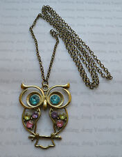 "A Large Bronze Style Rhinestone OWL Pendant Charm, Long 27"" Chain Necklace"