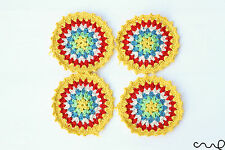 Vintage Chic 4 x Handmade Crochet Round Coasters Yellow Red White Cotton Doily