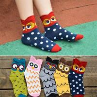 Ladies Women's Girls Design Cotton Blend Casual Ankle Socks Owl Cartoon Socks