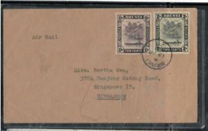 BRUNEI COVER (P1608B) 1958 RIVER SCENE 10C+2C A/M TO SINGAPORE