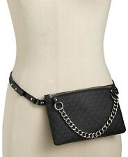 MICHAEL KORS MK Signature Fanny pack size SMALL belt Bag BLACK/SILVER NWT