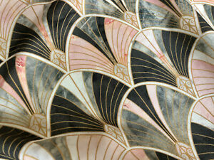 """Marble Pink Fan Bow Art Deco Shell Damask Fabric Fountain Curtain Cotton 55""""wide"""