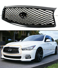 FOR 2014-17 INFINITI Q50 HIGH GLOSS BLACK OUT FRONT HOOD UPPER GRILL REPLACEMENT