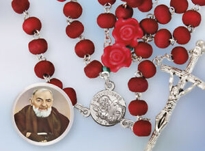 Saint Padre Pio Rose Scented Wood Rosary Roses Our Father Bead Religious Gift