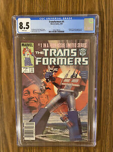 TRANSFORMERS # 1 CGC 8.5 White Pages ! NEWSSTAND! 1st App of Transformers !🔥 🔑