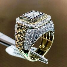 Men Hip Hop Club Gold Plated Ring with White Cubic Zirconia Crystals CZ Jewelry