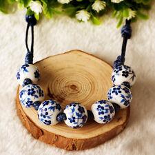 Vintage Keramik Porzellan Blau Weiß Floral Perlenkette Stretch Armband Schmuck