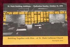New listing 1978 St Mark Lutheran Church Dedication Program Booklet Davenport, Iowa