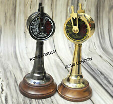 LOT OF 2 Ship 6 Inch Brass Telegraph Antique Marine Engine Room On Wooden Base