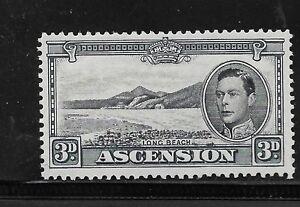 1938 ASCENSION ISLAND STAMP 3D UNUSED PERF 13.5 BLACK AND GREY