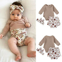 Infant Baby Boys Girls Clothes Knit Solid Romper Floral Shorts Hairband Outfits