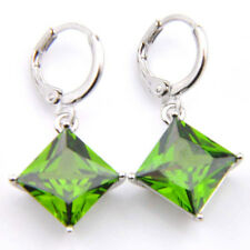 Spring Jewelry Gift Natural Olive Peridot Gemstone Silver Dangle Hook Earrings