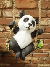 GORGEOUS PANDA ON ROPE SWING*STATUE GARDEN ORNAMENT NEW*POLY RESIN* 25cm