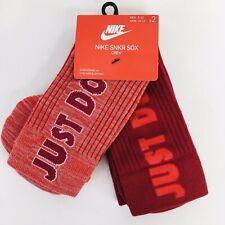 Nike 2-Pack Crew Socks SNKR Just Do It Size Men's 8-12 Women's 10-13 Red