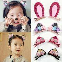 Cute Hair Clips Cat Ears Bunny Barrettes Rainbow Flowers Hairpins --